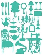 Hambly studios rub ons - Silhouettes Teal