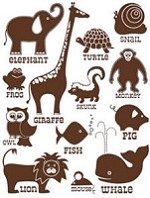 Hambly studios rub ons - Classic Animals Brown