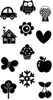Hampton Art - Doodlebug Design  - Clear Stamp - Doodlepop Icons