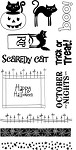 Hampton Art-4x8 Clear Stamp Set-Scaredy Cat