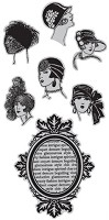 Hampton Art - Diffusion -Airstamps  Cling Stamp Set - Vintage Portraits