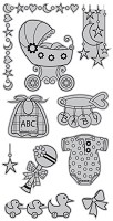 Hampton Art - Outlines  - Cling Mounted Stamp - Here Comes Baby
