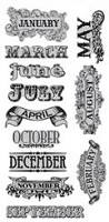 Hampton Art - 7 Gypsies - Cling Stamp Set - 12 Months