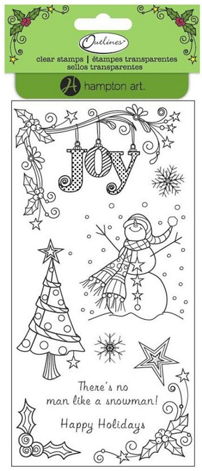 Hampton Art - 4x8 Clear Stamp Set by Outlines - Snowman Joy
