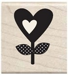 Hampton Arts - Studio G - Wood Mounted Stamp - Heart Flower