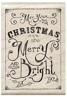 Hampton Art - Wood Mounted Stamp - Merry and Bright