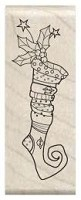 Hampton Art - Wood Mounted Stamp by Outlines - Long Stocking