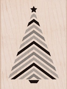 Hero Arts - Wood Mounted Rubber Stamp - Striped Tree with Star