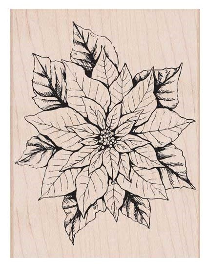 Hero Arts - Wood Mounted Rubber Stamp - Antique Poinsettia