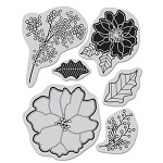 Hero Arts Cling Stamp for Basic Gray-Nordic Holiday-Poinsettia & Berries