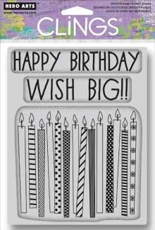 Hero Arts - Cling Rubber Stamp - Wish Big Candles
