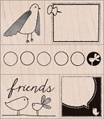 Hero Arts - Wood Mounted Rubber Stamp - Friendly Birds