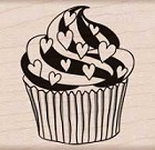Hero Arts - Wood Mounted Rubber Stamp - Heart Cupcake