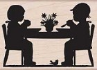 Hero Arts - Wood Mounted Rubber Stamp - Children At Table