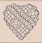 Hero Arts - Wood Mounted Rubber Stamp - Loopy Heart