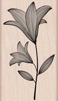 Hero Arts - Wood Mounted Rubber Stamp - Etched Flower With Stem