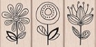 Hero Arts-Wood Mounted Rubber Stamp-Three Quirky Flowers