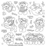 "Hot Off The Press - Clear Stamps - Janie's Beary Fairies (8""x8"")"