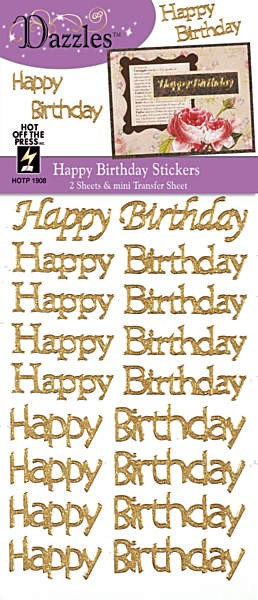 Hot off the Press - Dazzles Stickers - Happy Birthday Gold (2 Pk)