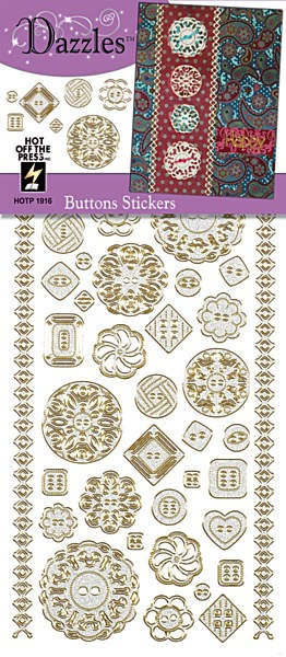 Hot off the Press - Dazzles Stickers - Buttons Silver