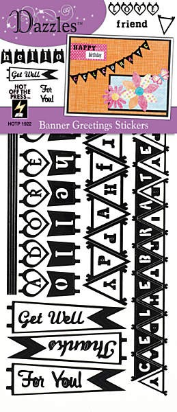 Hot off the Press - Dazzles Stickers - Banner Greetings Black