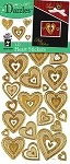 Hot off the Press-Dazzles Stickers-3D Hearts Gold