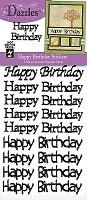 Hot off the Press - Happy Birthday Greetings Dazzles - Black Glitter (pkg of 2)