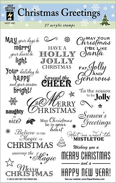 Hot Off The Press - Clear Stamps - Christmas Greeting Stamp Set