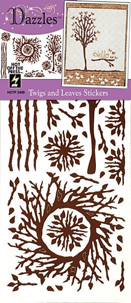 Hot Off The Press - Dazzles Stickers - Brown Twigs & Leaves