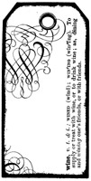 Impression Obsession Cling Mounted Rubber Stamp - Wine Text Tag