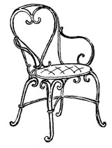 Impression Obsession Cling Mounted Rubber Stamp - Heart Chair