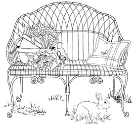 Impression Obsession Cling Mounted Rubber Stamp - Wire Garden Bench