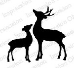Impression Obsession - Cling Mounted Rubber Stamp - By Alesa Baker - Deer Pair