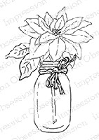Impression Obsession - Cling Mounted Rubber Stamp - By Alesa Baker - Poinsettia Jar