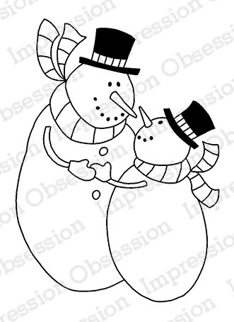 Impression Obsession - Cling Mounted Rubber Stamp - By Gail Green - Snowman