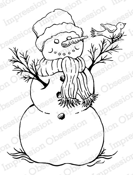Impression Obsession - Cling Mounted Rubber Stamp - By Tara Caldwell - Snowman With Bird