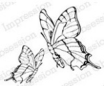 Impression Obsession Cling Mounted Rubber Stamp by Alesa Baker - Butterfly Pair