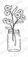 Impression Obsession - Cling Mounted Rubber Stamp - By Alesa Baker - Sunny Flowers Jar