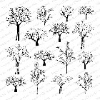 Impression Obsession - Cling Mounted Rubber Stamp - Cover A Card - Tree Row