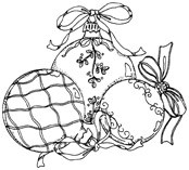 Impression Obsession Cling Mounted Rubber Stamp - Small Ornament Trio