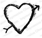 Impression Obsession - Cling Stamp by Alesa Baker - Carved Arrow Heart