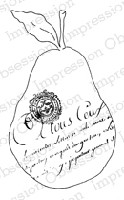 Impression Obsession - Cling Mounted Rubber Stamp - By Alesa Baker - French Text Pear