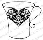 Impression Obsession Cling Mounted Rubber Stamp by Alesa Baker - Damask Heart Cup