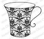 Impression Obsession - Cling Stamp by Alesa Baker - Damask Print Cup