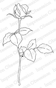 Impression Obsession Cling Mounted Rubber Stamp by Alesa Baker - Budding Rose Stem