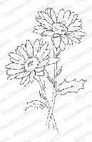 Impression Obsession - Cling Mounted Rubber Stamp - By Alesa Baker - Double Daisies Large
