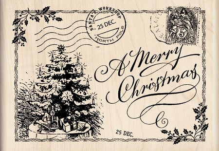 Inkadinkado - Wood Mounted Rubber Stamp - Christmas Post Card
