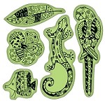 Inkadinkado-Cling Stamps- Tropical Patterned Animals