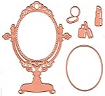 Joy Crafts - Noor! Cutting & Embossing Die - Little Princess Vanity Mirror and Makeup
