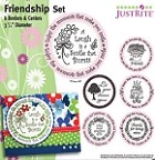 "Just Rite-3~1/4"" Round Stamp Set-Friendship Borders & Centers"